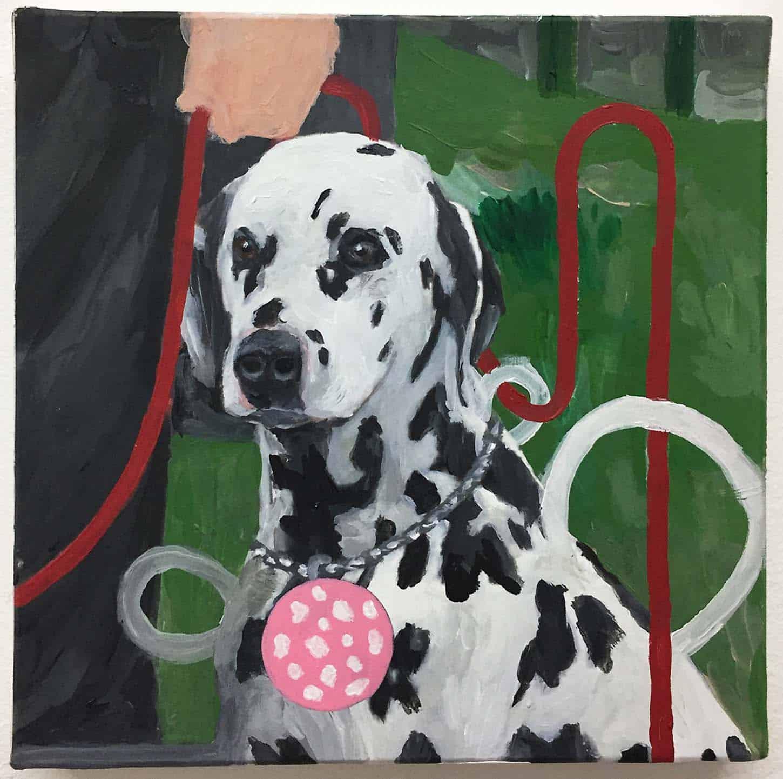 Thierry Lagalla,Mortadella pintura (lo can), 2018, Acrylique sur toile, 20 x 20 cm