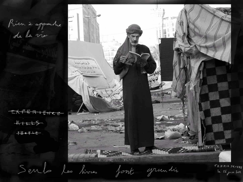 Le Showroom, Louis Jammes, oeuvres historiques, De l'autre côté du monde, 2012Place Tahrir, Le Caire, Egyptephoto rehaussée d'un dessin sur tablette numérique20 x 26,5 cm, exemplaire unique