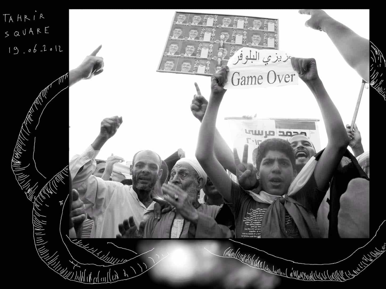 Louis Jammes, Série Printemps ArabeGame over, 2012Place Tahrir, Le Caire, Egyptephoto rehaussée d'un dessin sur tablette numérique, 20 x 26,5 cm, exemplaire unique