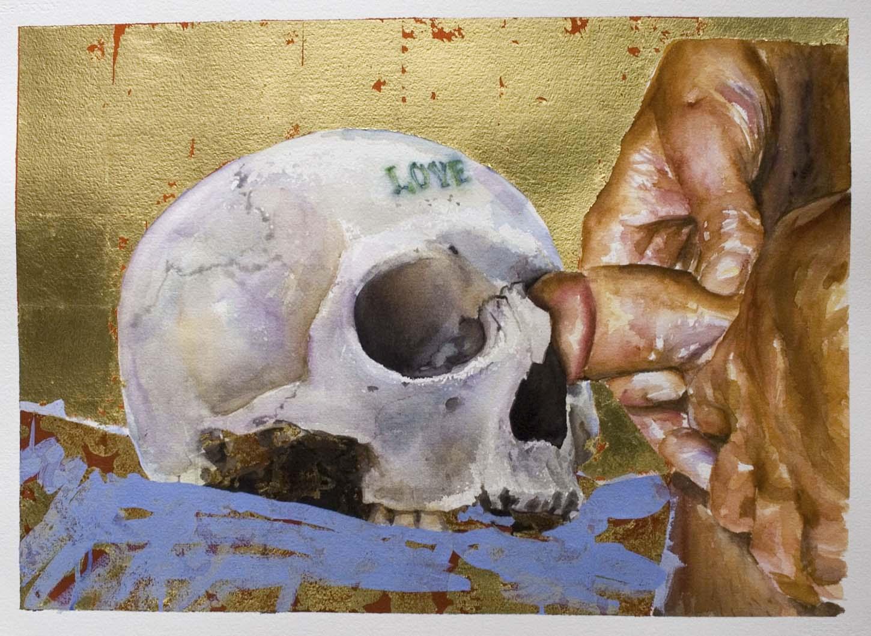 Ida Tursic & Wilfried Mille,LOVE, 2005, Aquarelle et feuilles d'or sur papier, 56 x 76 cm