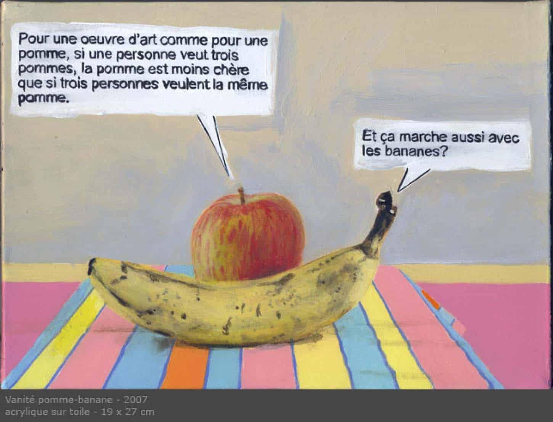 Thierry Lagalla,Vanité pomme-banane, 2007, acrylique sur toile, 19 x 27 cm
