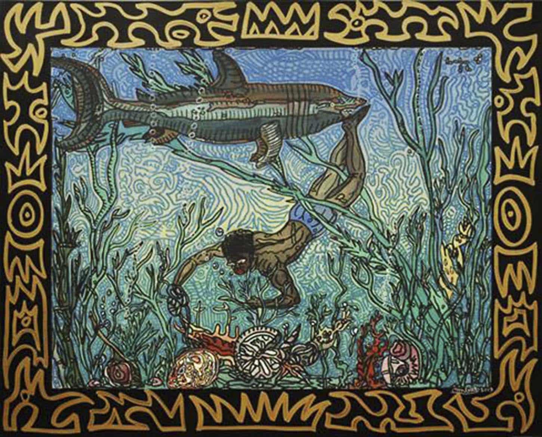 """Robert Combas """" Plongeur plongé, dans l'eau glacée. Vu crâne d'or, c'est un trésor, gros coquillages, c'est le bonheur, trésor caché requin tueur. Crâne éclairé, ne pas bronzer, c'est mal barré, requin malin frôle les pieds, c'est pas la fin, requin pas faim. La décision c'est remonter, crâne doré trésor caché. Millions d'années sont remontées. Les Vanitas la Vanité.""""  Acrylique sur toile, 2009, 65 x 85 cm"""