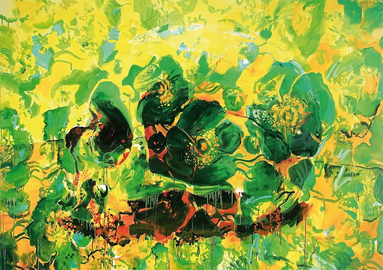 Ida Tursic & Wilfried Mille, Green Flowers, 2003, Huile sur toile, 250 x 350 cm