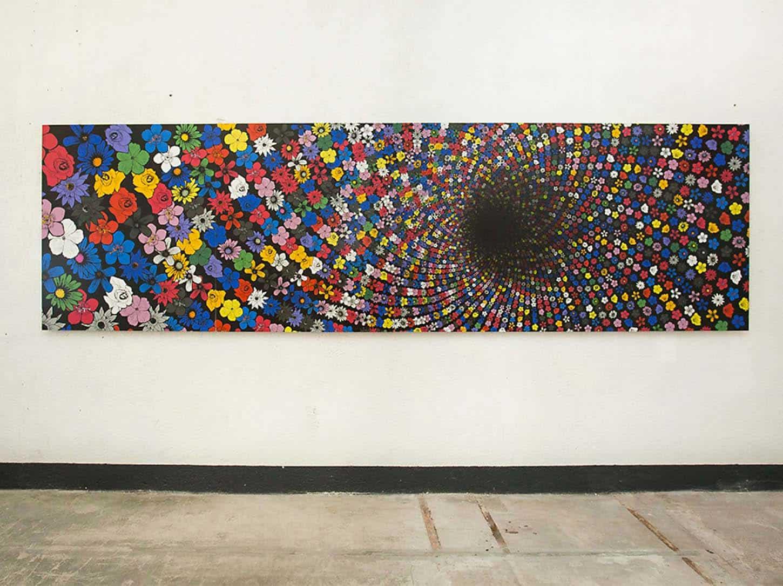 Han Hoogerbrugge, Black Hole - Anthrophobia (II), 2007,c-print dibond / 4 panneaux / 480 x 140 cm• Le Château :Sors de ta réserveExposition colelctive19.01 - 10.3.18