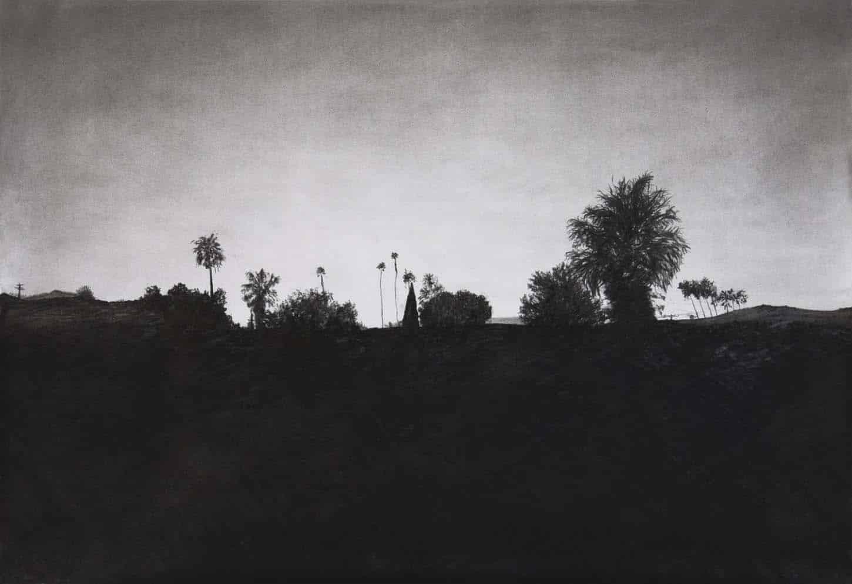Maxime Duveau, Sunset view, 2015,fusain sur papier,120 x 80 cm