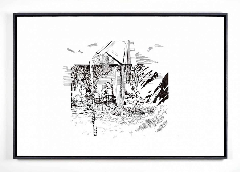 Chourouk Hriech, Research #1, 2014, Encre de Chine sur papier, 80 x 120 cm, pièce unique