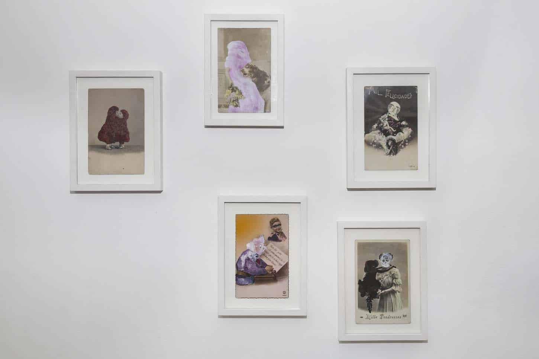 • La galerie Karine Rougier, Sans titre, 2014, extrait de la série «Mille baisers», technique mixte, sur carte postale ancienne, 10 x 15 cm