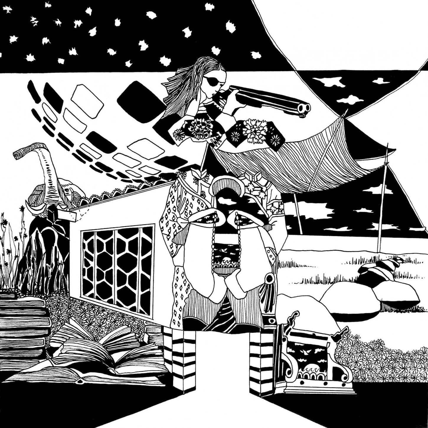 Chourouk Hriech, Water is captive to the well #3, 2009, Encre de Chine sur papier, 25 x 25 cm, pièce unique