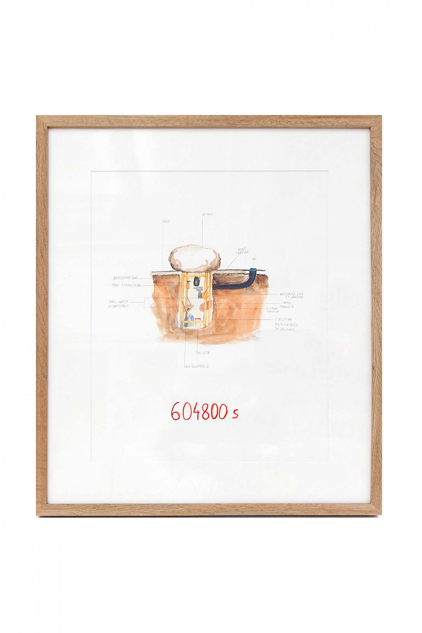 La galerie: La IIIe narine Abraham Poincheval 604800 s, 2012 Crayon et aquarelle sur papier, 50 x 30 cm Courtesy : Gal. Semiose