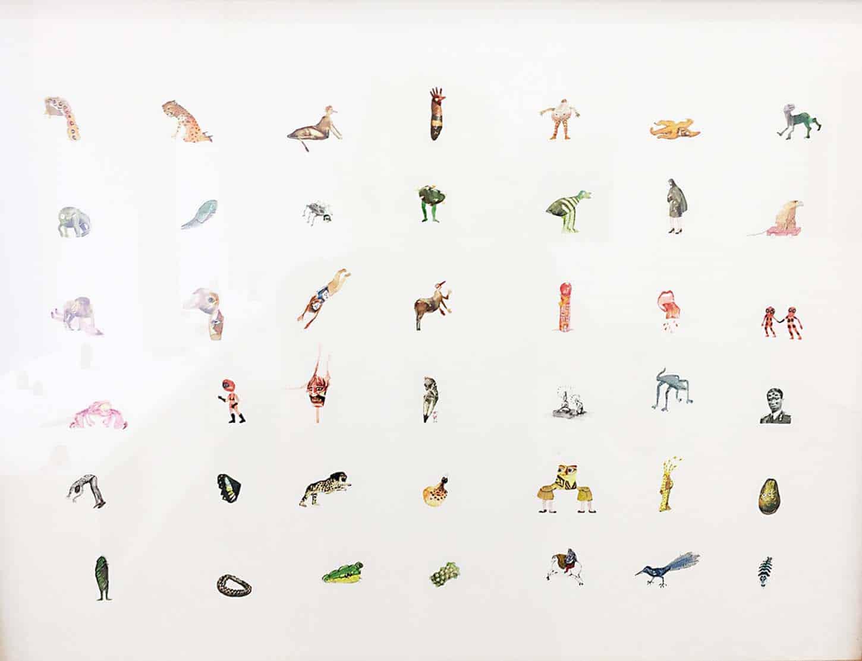 Karine Rougier,Ocelles, 2012, collage et aquarelle sur papier, 50 x 40 cm