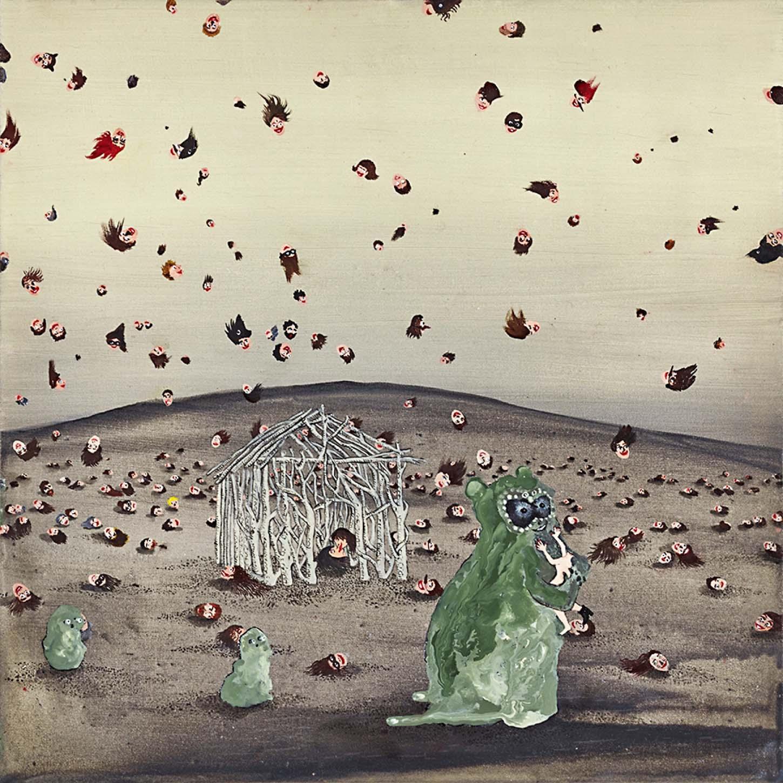 Karine Rougier, Happy flying heads, 2017, Huile sur bois, 30 x 30 cm