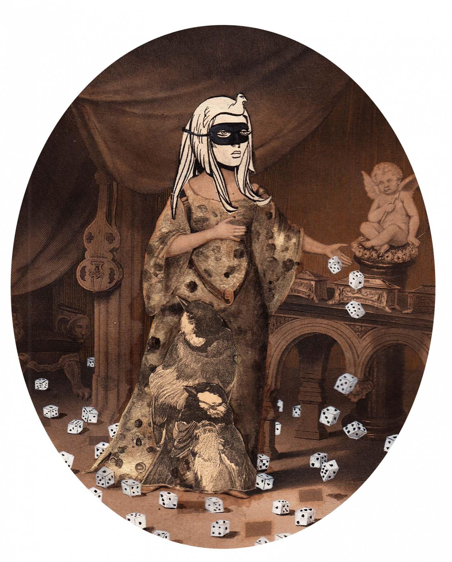 Karine Rougier, Sans titre, (de la série Les vagabonds), 2018, collage, gouache et encre sur document, 30 x 40 cm