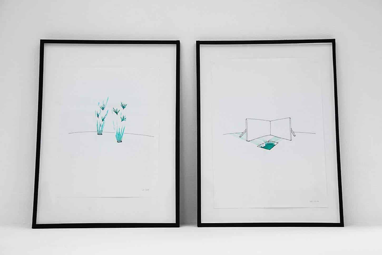 Espace A VENDRE. Eva Medin - SolsticeSilence 1 et 2aquarelle et feutre noir sur papier, 29 x 42 cm