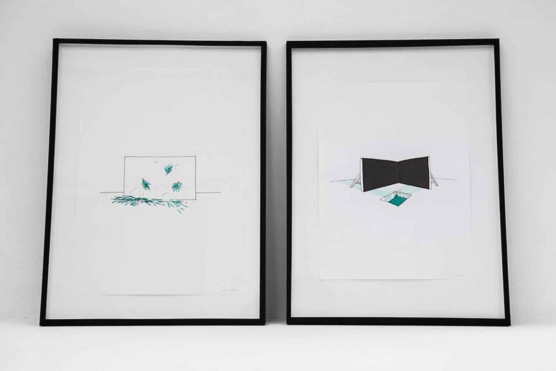 Espace A VENDRE.Vue de l'exposition: Eva Medin - SolsticeViolence 1 et 2aquarelle et feutre noir sur papier, 29 x 42 cm