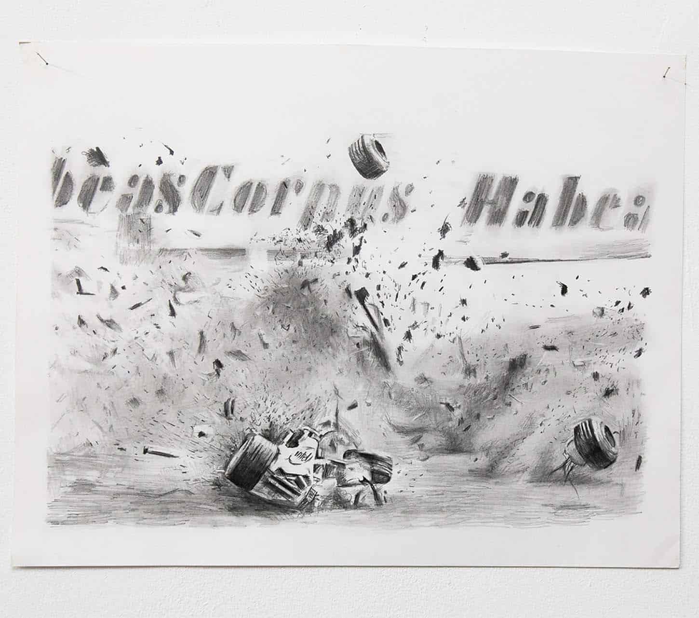 Filip Markiewicz,Kubica Habeas Corpus, 2011, mine graphite sur papier, 35 x 45 cm