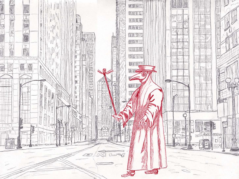 Jean-Baptiste Ganne, Marseille / Gotham, graphite et crayon sur papier, 24x32cm, avril 2020