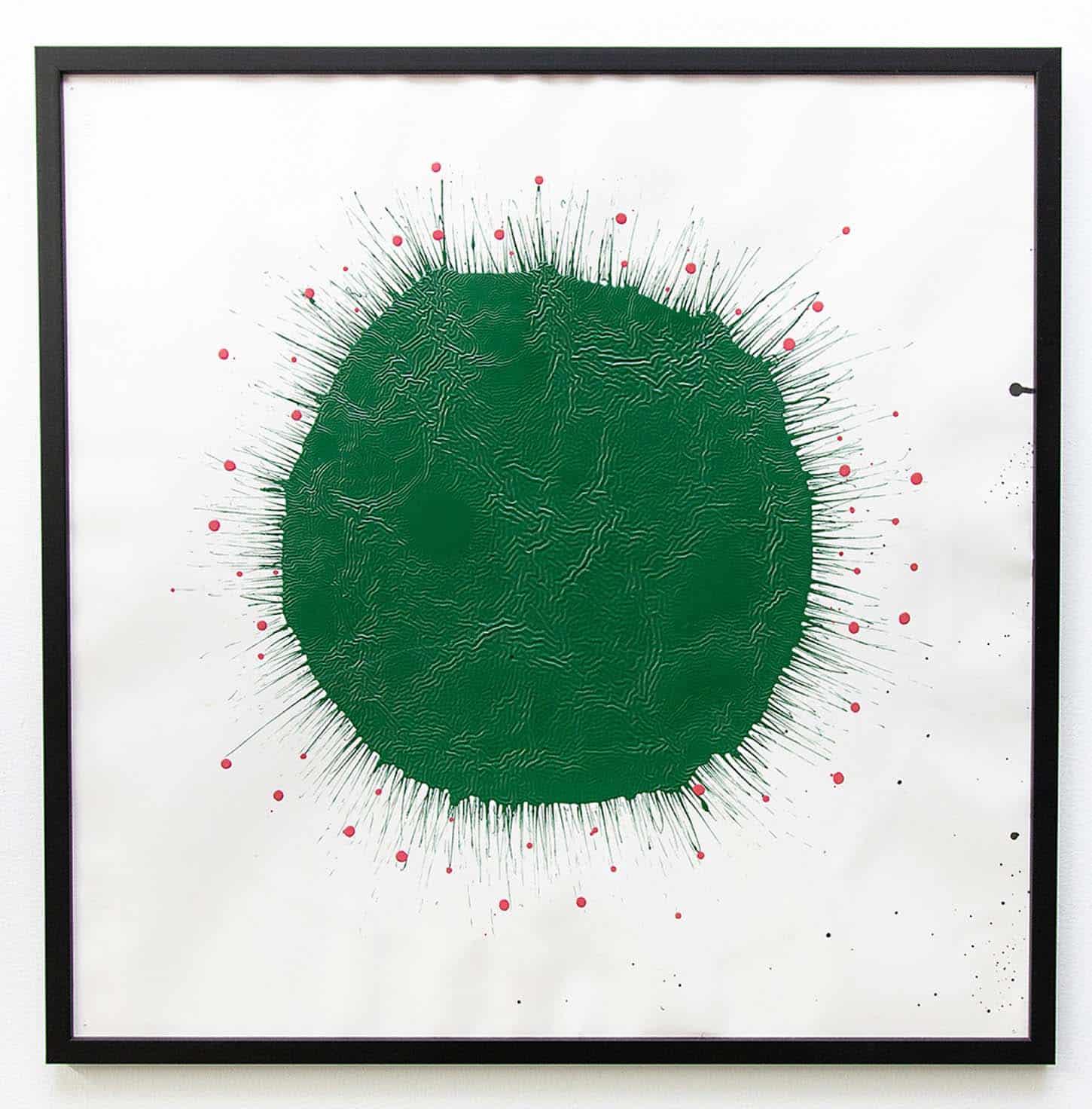 Stéphane Steiner, Sans titre (Green stain), 2005, acrylique et encre sur papier, 57 x 57 cm