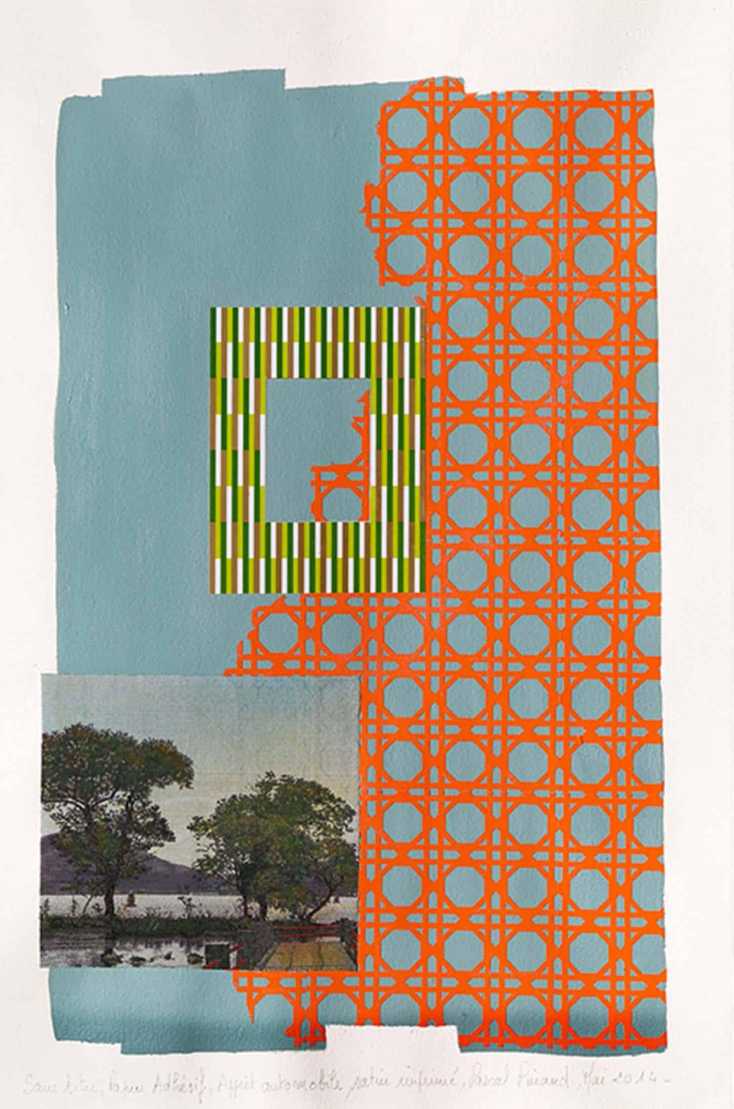 Pascal Pinaud,Sans titre,Mai 2014,Adhésif, peinture automobile, satin imprimé, fils de soie sur papier Arches,59,5 x 42 x 3,5 cm