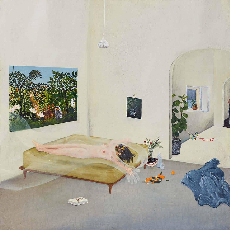 Karine Rougier, « Le temps du cœur », Huile sur bois, 30x30cm, 2020