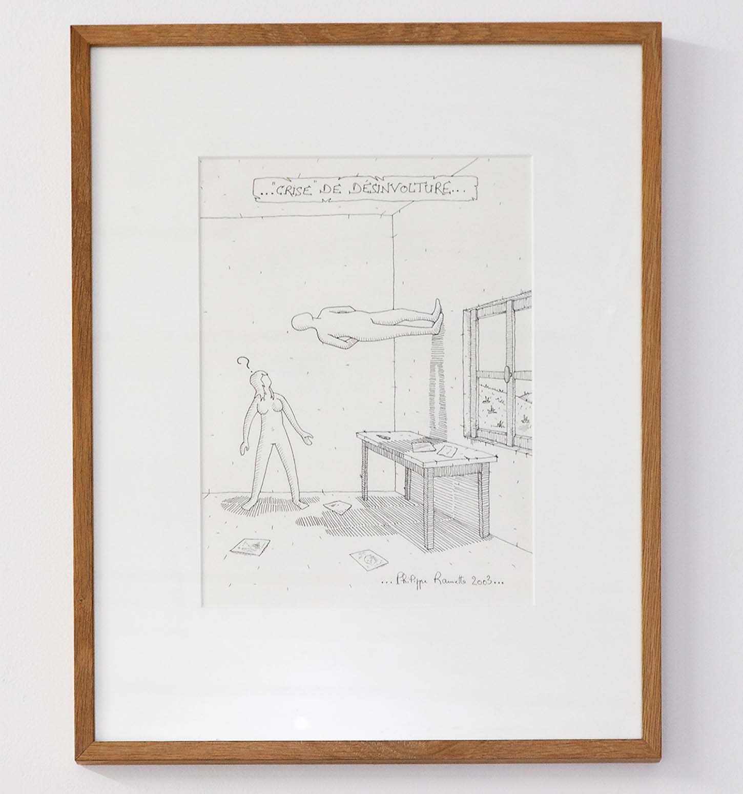 Philippe Ramette, Crise de désinvol-ture..., 2003, Papier : 32 x 24 cm, encadré : 52 x 42,5 x 2,5 cm