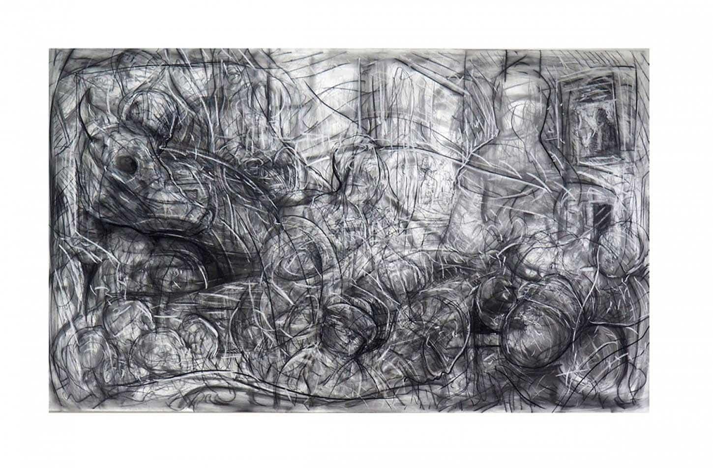 Quentin Spohn,Sans titre, 2020 Pierre noire et pastel blanc sur toile, 114 x 195 cm