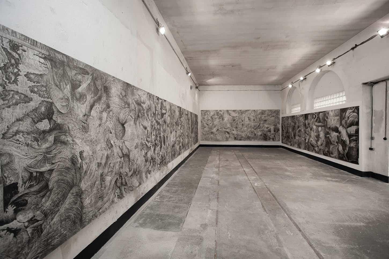 Quentin Spohn, Sans-titre, 2020 Graphite sur papier, 35m de long