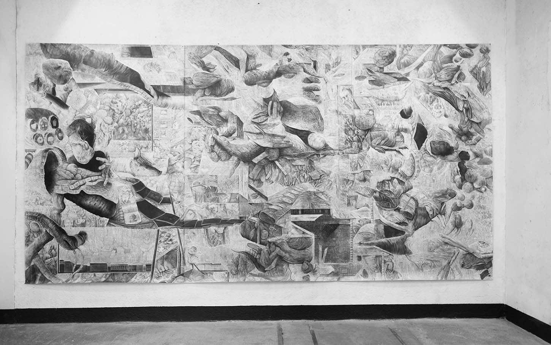 Quentin Spohn,Sans titre, 2020 Graphite sur papier, 300 x 585 cm (3 x 195 cm)