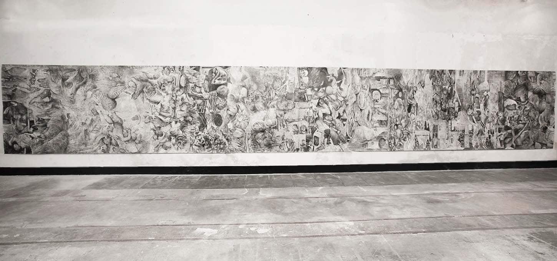 Quentin Spohn, Sans titre, 2020 Graphite sur papier, 195 x 1300 cm (2 x 650 cm)