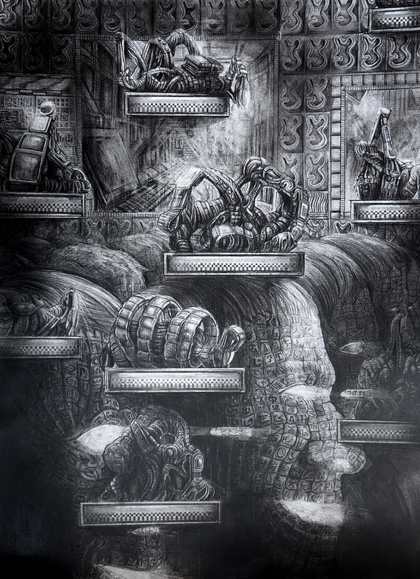 Quentin Spohn, Sans titre, 2019 Graphite sur papier, 70 x 50 cm