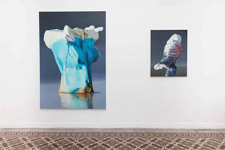 Maude Maris, de gauche à droite :Big Io, 2016, 190 x 130 cm, huile sur toileWhistle, 2016, 90 x 70 cm, huile sur toile