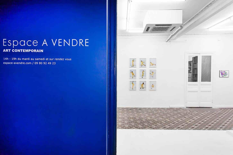 Espace A VENDRE, entrée de l'exposition collective La Leçon , par Qingmei Yao vs Eric Duyckaerts.