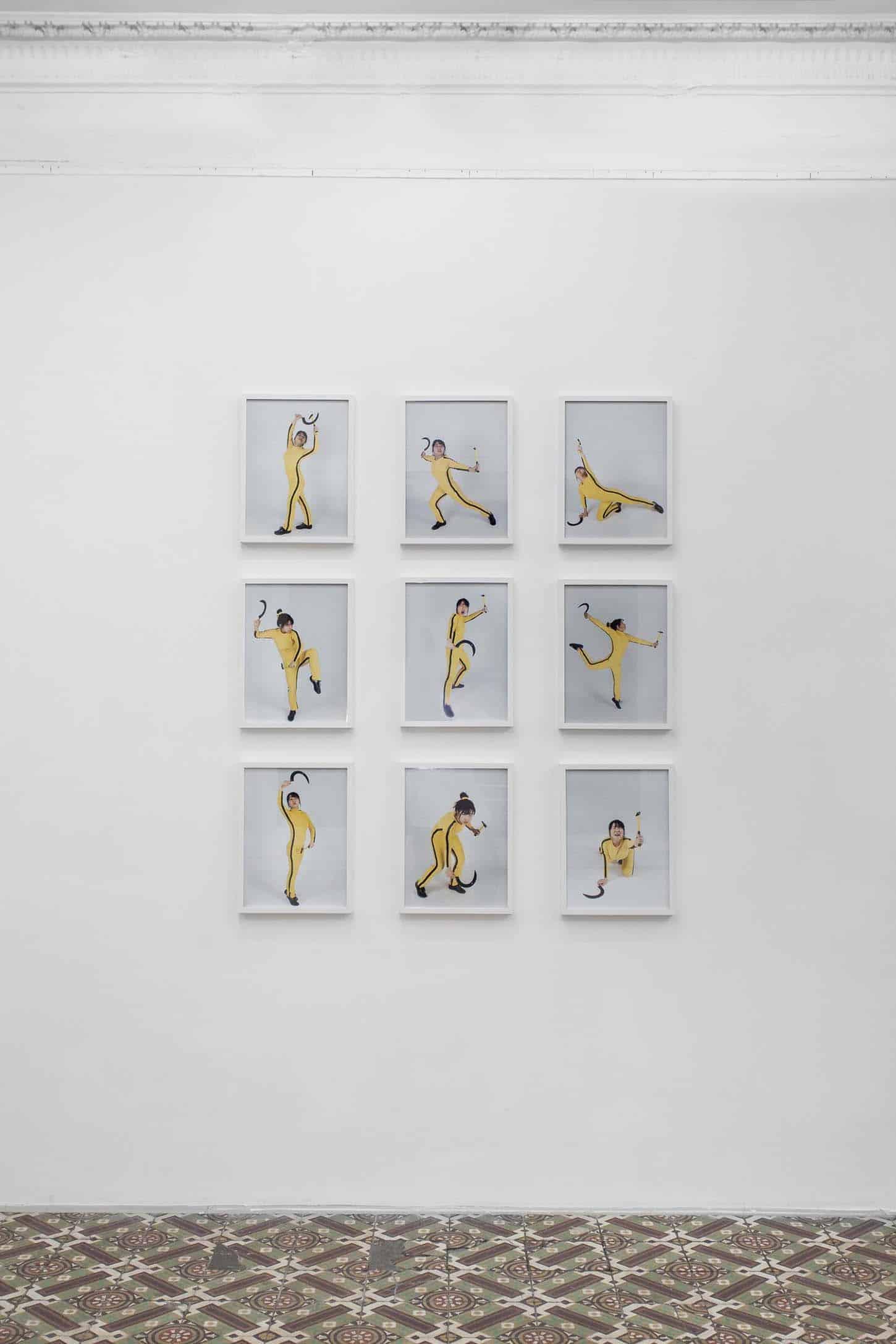 Qingmei Yao, Danse! Danse! Bruce Ling!,Série de neuf photos préparatoires pourune recherche choégraphique,9x30cmx40cm