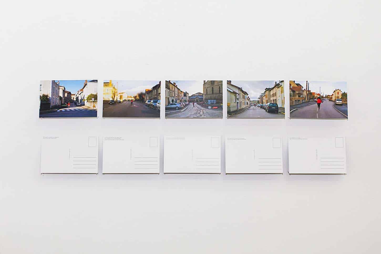 Qingmei Yao, File comme le vent...(détail). Installation de cinq cartes postales, dimension: 10cmx15cm, papier 600g/m², recto verso, 2011