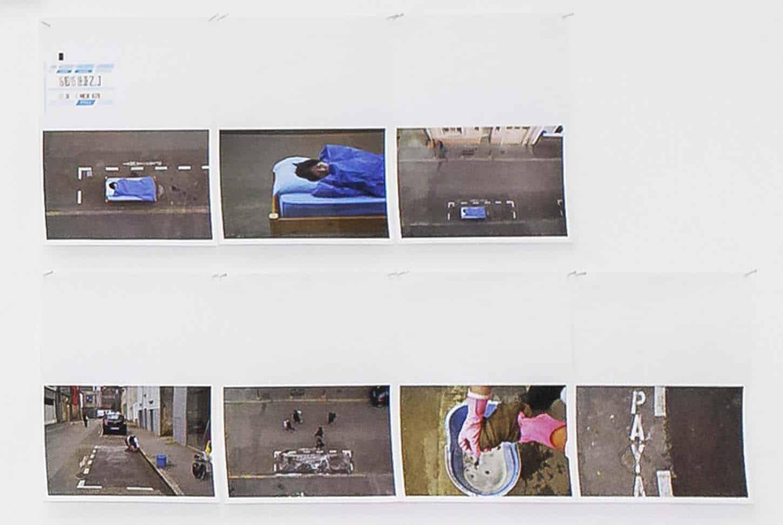 Qingmei Yao, One Hour Occupy Parking Art(détail),Installation: 61 photos 10cmx15cm, ( 24 actionssur la stationnement: 7 March -30 March 2015 )