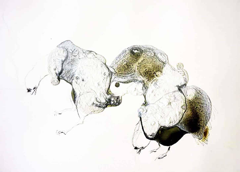 Lionel Sabatté,L'échafaudage de la morsure du 18 février 2013,mine de plomb, béton, brulures, poussières et vernis sur papier Arches, 46 x 61 cm,Coll. Privée