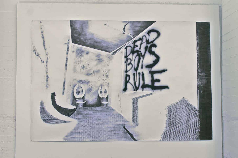 Espace A VENDRE.Vue de l'exposition: Du sable dans ma santiag, par Maxime Duveau  Dead Boys Rule, 2014 Fusain et peinture en spray sur papier, 190 x 260 cm