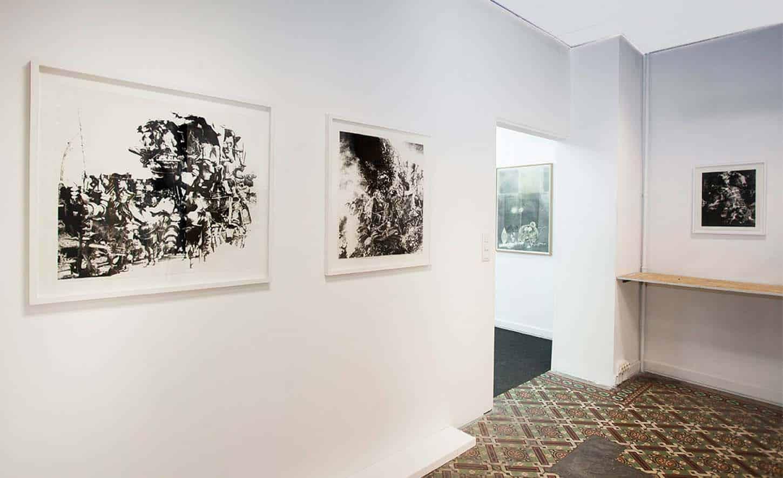 Espace A VENDRE, Le Showroom: Vue de l'exposition: Dessins originaux, par Tudi Deligne.