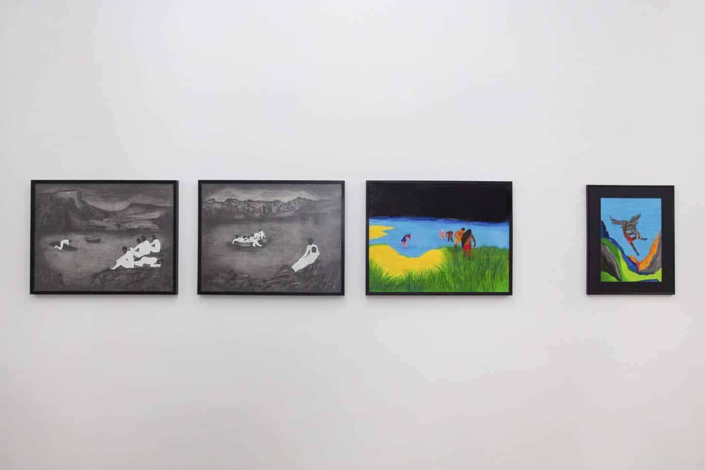 • La galerie  Tom de Pekin. De g. à d. :Le Lac sombre,techniques mixtes sur papier,50x65 cm.Le soir, la plage,techniques mixtes sur papier,50x65 cm.Ganymède,techniques mixtes sur papier,29,7 x 42 cm