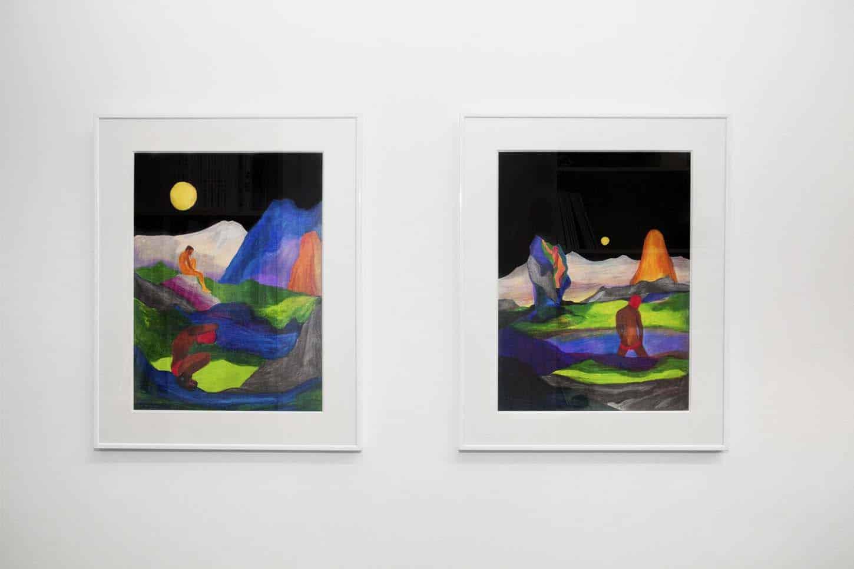 • La galerie  Tom de Pekin,Décors montagneux, techniques mixtes sur papier,29,7 x 42 cm