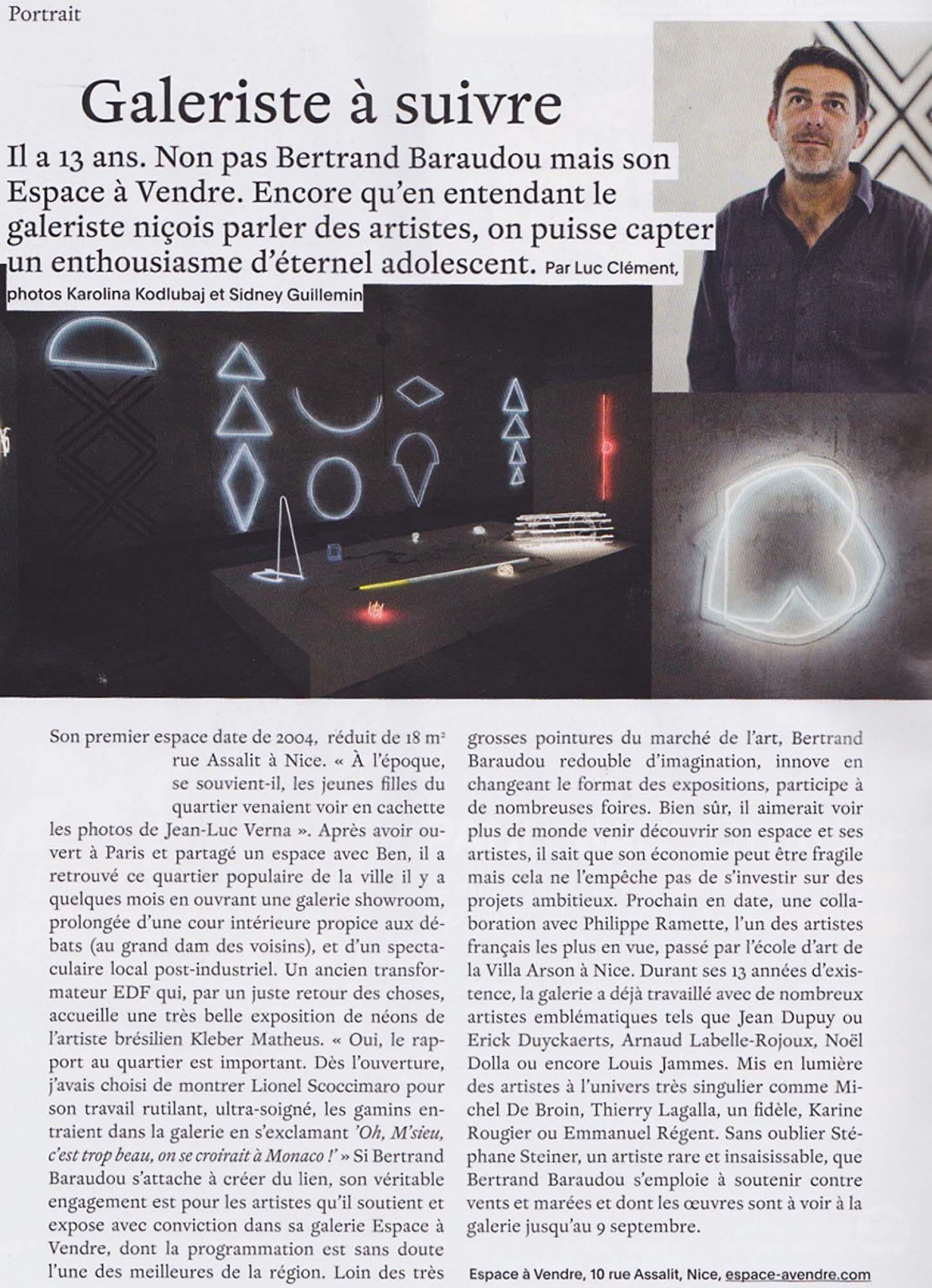 Espace A VENDRE  Article de l'exposition Géométrie spirituelle, par Kleber Matheus.