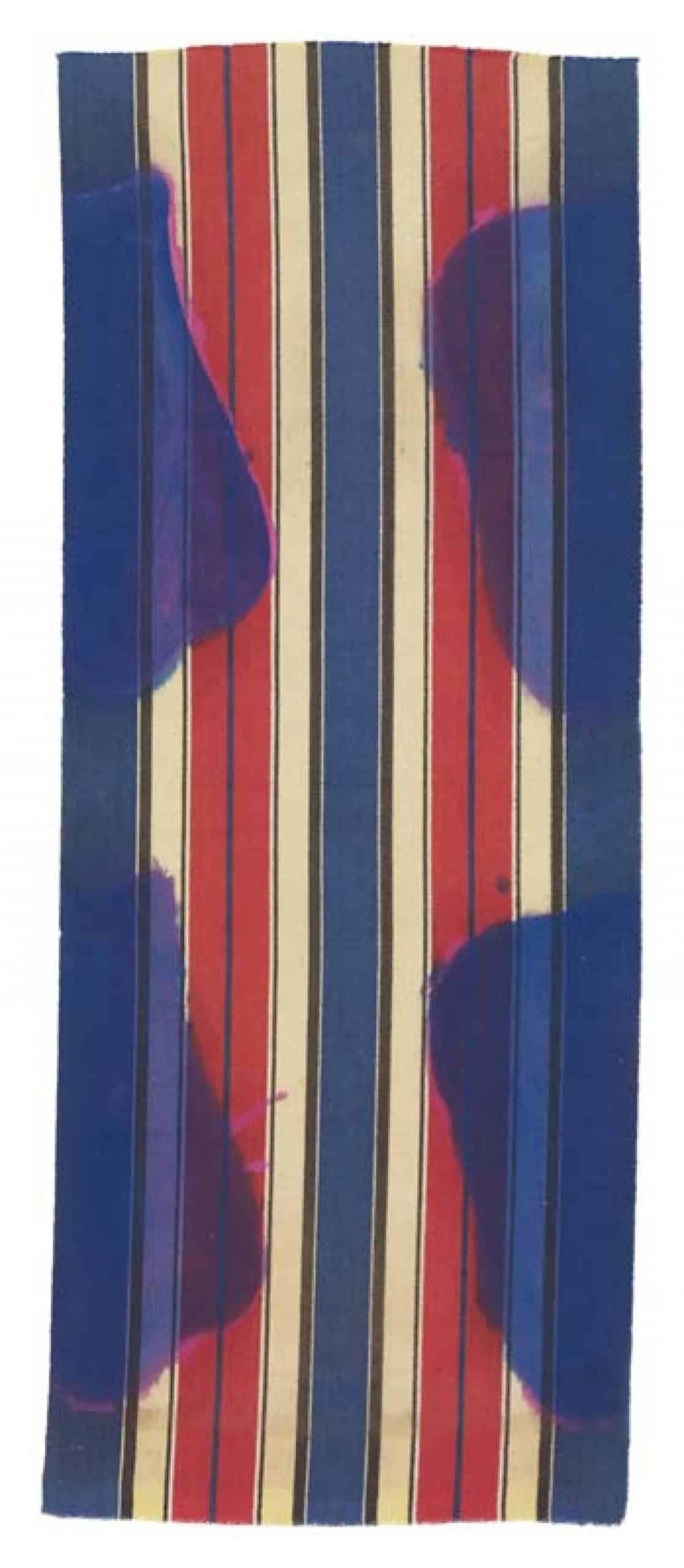 Claude Viallat, Sans titre 6 Sérigraphie sur papier Arches 310gr, 117 x 51 cm, 60 ex, 2013.