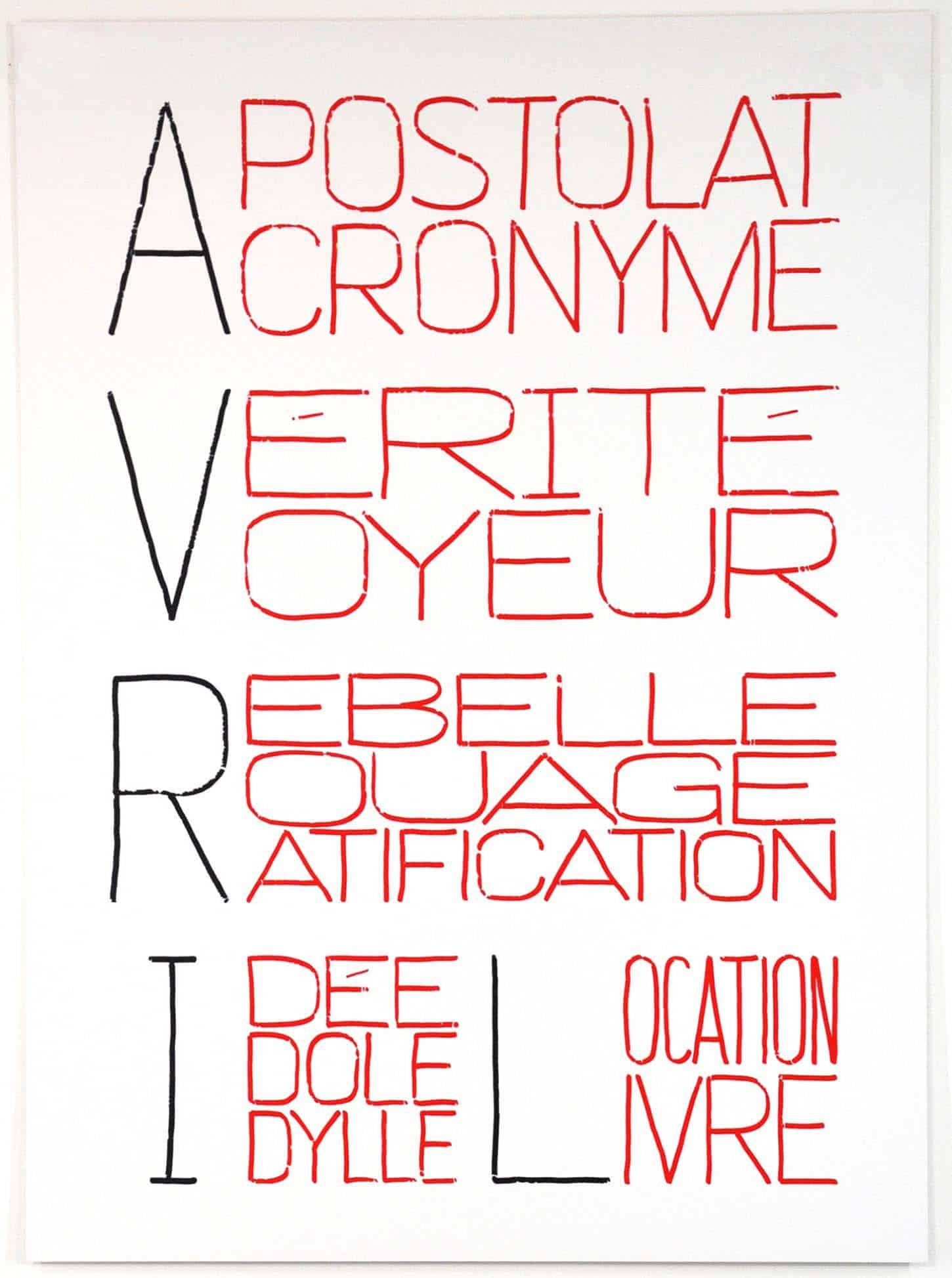 Delphine Coindet Calendrier Anarchiste (Avril), Sérigraphie sur Excellent Silkboard 880 gr, 81,5 x 60 cm, + 3EA s, 2013.