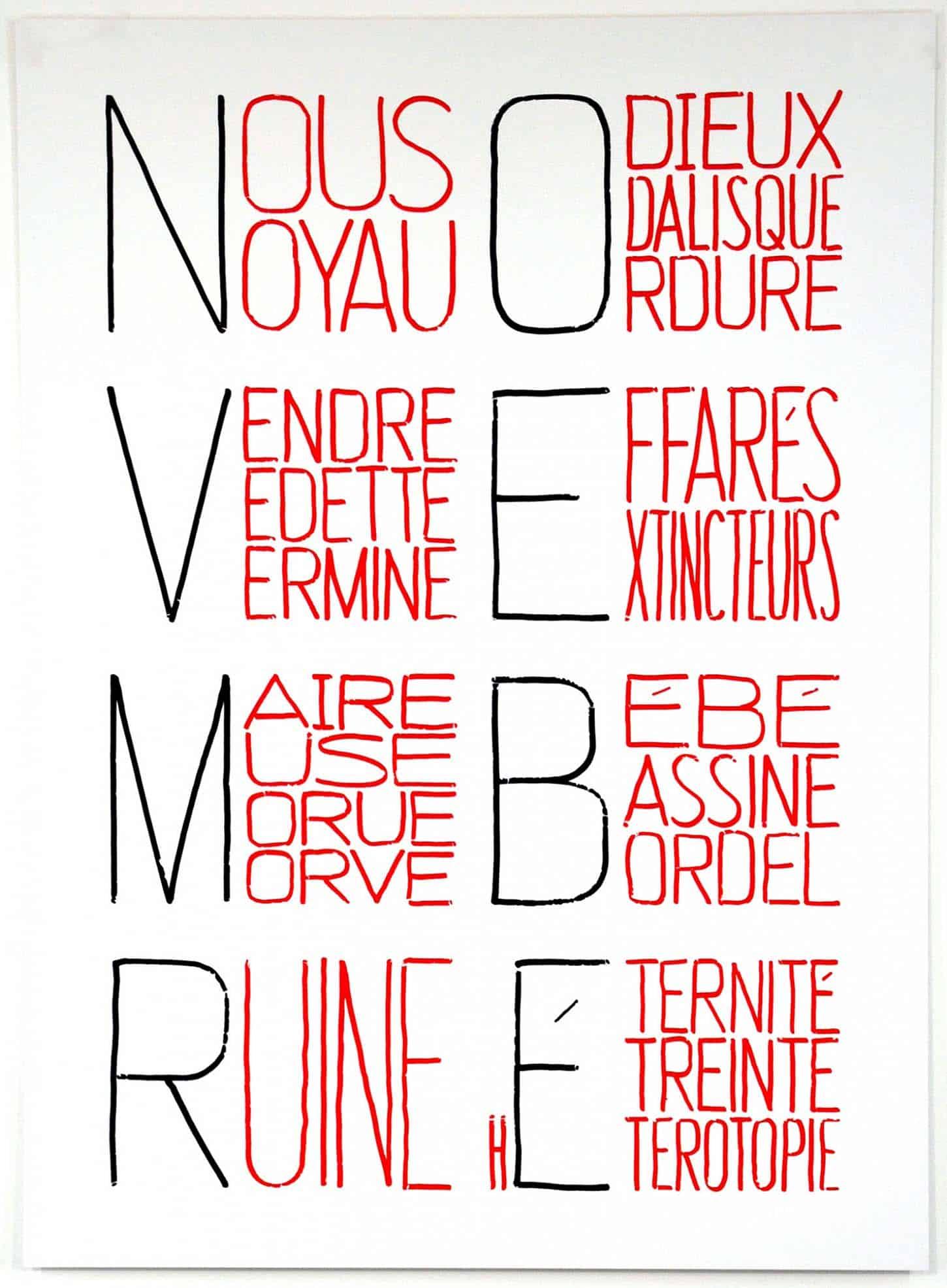 Delphine Coindet Calendrier Anarchiste (Novembre) Sérigraphie sur Excellent Silkboard 880 gr, 81,5 x 60 cm, 10 exemplaires + 3EA signés et numérotés, 2013.