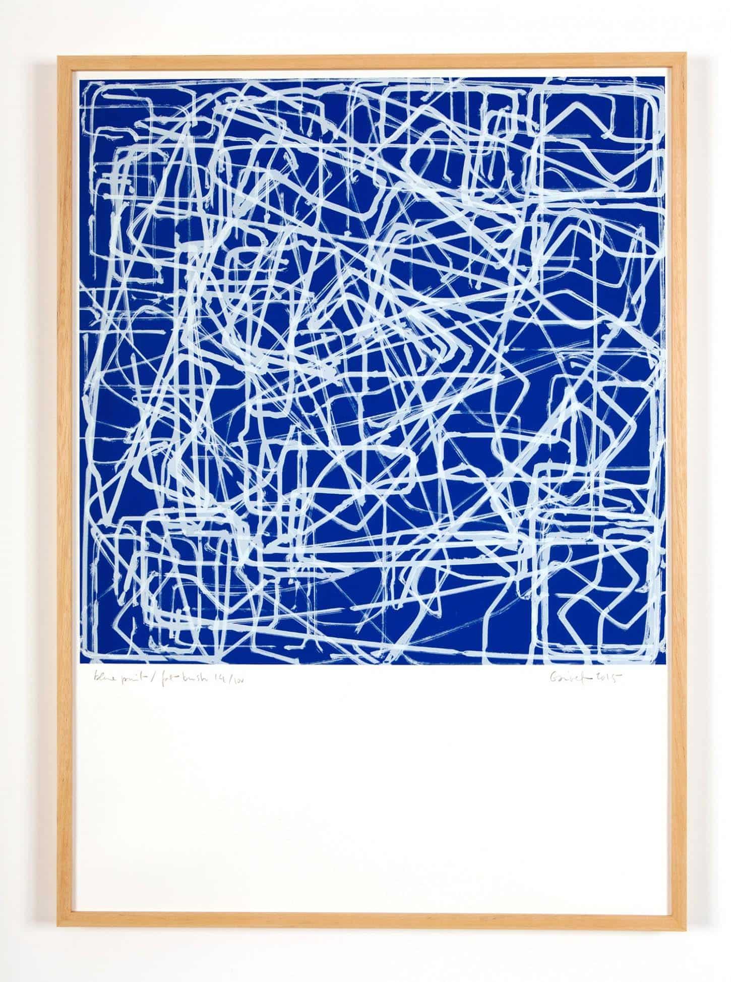 Vincent Ganivet, Blue Print/Fat Brush Sérigraphie sur Rivoli 300 gr, 50 x 70 cm, 2015.