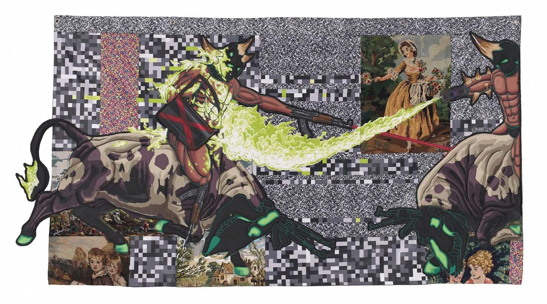 Lucien Murat, Duel, 2018, Acrylique sur canevas chinés et patches, 120 x 220 cm