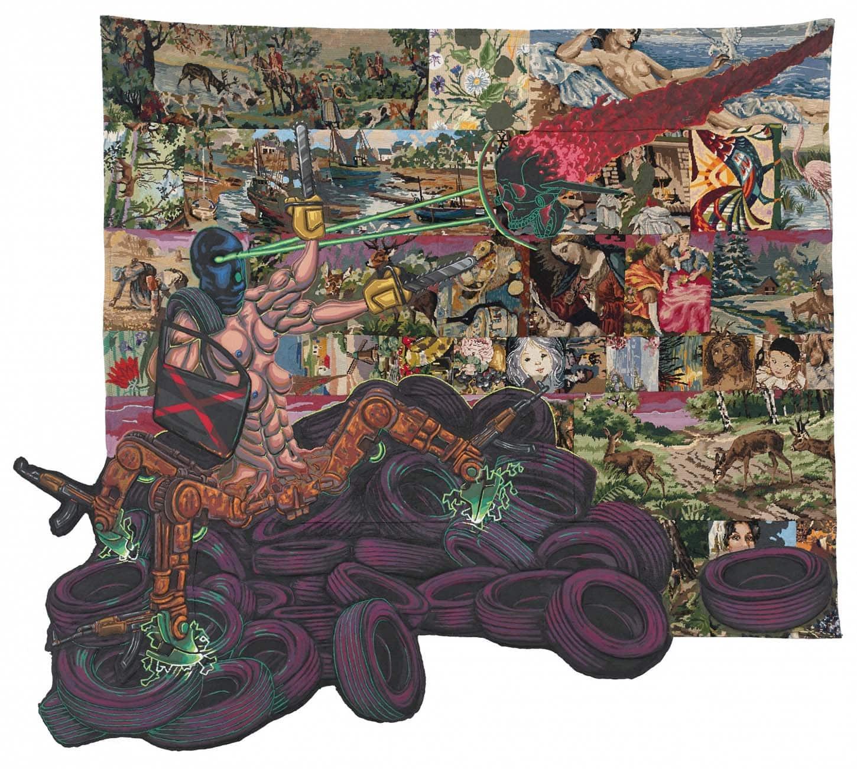 Lucien Murat,Big Boss 2.0, 2018, Acrylique sur canevas chinés, bache et patches, 230 x 240 cm