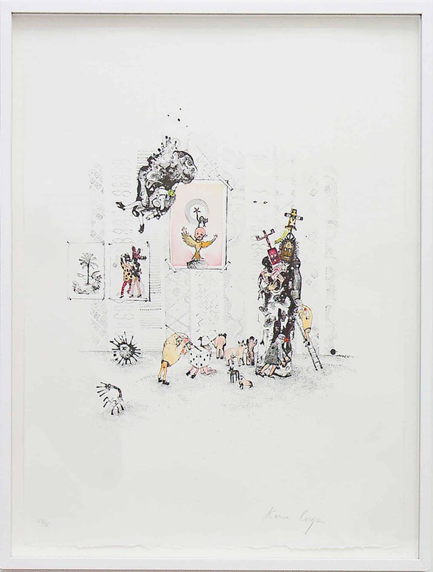 Espace A VENDRE: Exposition collection, Editions.  Karine Rougier Série La fenêtre, 2016 lithographie réhaussée à l'aquarelle, tampon, gouache et collage
