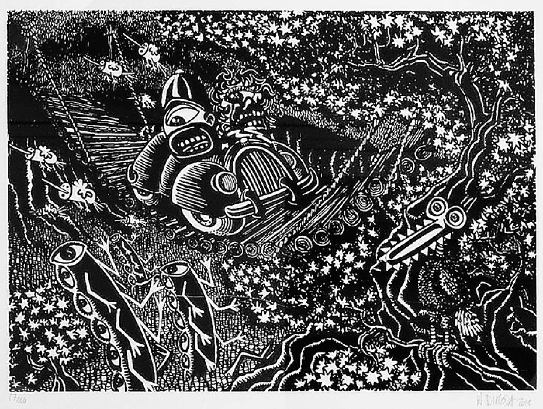 Espace A VENDRE,  Hervé Di Rosa En Traversant le Pont-Noir 2014, 76 x 56 cm, 40 exemplaires signés et numérotés