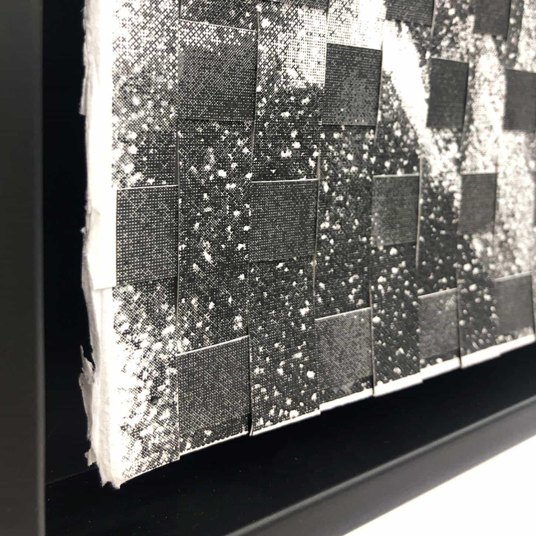 Maxime DuveauJungle Palms Braided (détail), 2019, 76cmx56cm, Sérigraphies tressées sur papier.