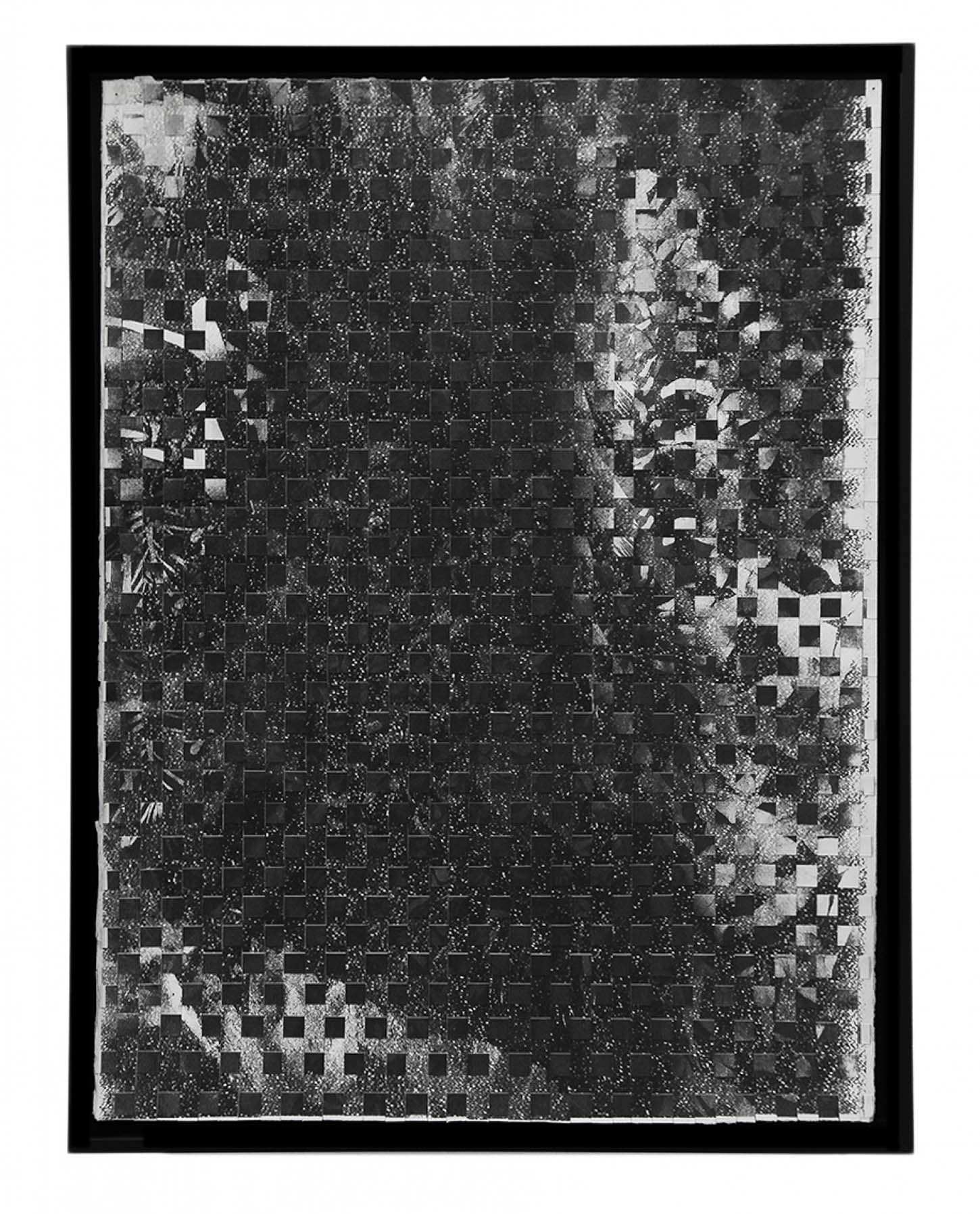 Maxime DuveauJungle Palms Braided, 2019, 76cmx56cm, Sérigraphies tressées sur papier.